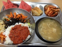 Bibimbap, watermelon, kimchi, tofu and enoki doenjang soup, apple pastry