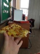 sweet potato, honey mustard, onions... other stuff. sweet of course bc korean pizza.