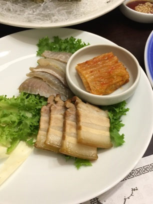 Controversial dish: bossam with fermented skate. The skate being the controversial part. Super ammonia-y, weird texture. Try anything once. And I love fermented stuff. So bossam + aged kimchi + femented skate was like max fermentation.