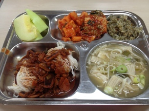 Honeydew, noodles with spicy stewed tentacles, kimchi, enoki and tofu soup, stir fried anchovies