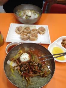 Kimchi dumplings, 비빔열무냉면 -- cold noodles with pickled radish stems